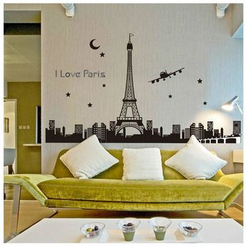 Eiffel Tower Night Removable Luminous Wall Sticker Vinyl Decal Decoration glow in the dark
