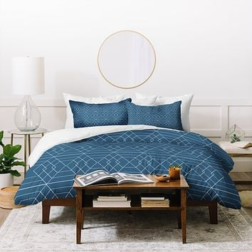 Vy La Blue Hex Duvet Cover