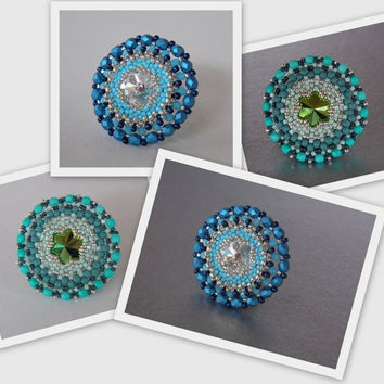 Free Shipping, Ring,Bead embroidery , Seed beads jewelry,  Fashionable ring, Blue, Green, Statement ring,