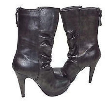 GUESS womens Gray Charcoal Stacked Platform 3/4 Length Boots Shoes size 5.5 M