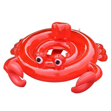 Red Crab Baby Child Kids Rings Inflatable Floating Swimming Pool Seat Float Kid Swim Ring