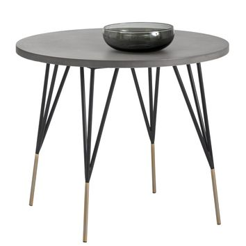 """MINDY BRUSHED ANTIQUE BRASS FEET WITH SEALED CONCRETE TOP 35,5"""" ROUND DINING TABLE"""