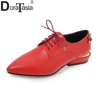 DoraTasia Women's Low Heels Pointed Toe Lace Up Casual Dress Spring Autumn Shoes Woman Oxfords Big Size 34-43