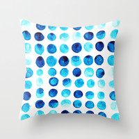 Blue dots Throw Pillow by Seven Roses