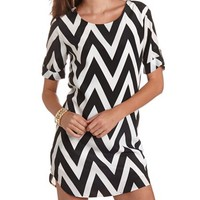 3/4 Sleeve Chevron Shift Dress: Charlotte Russe