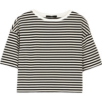 Tibi - Ren cropped striped cotton-blend jersey top