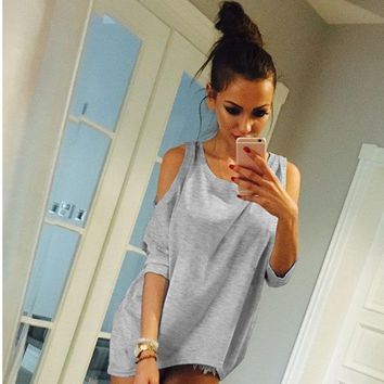 Tops and Tees T-Shirt Summer Women T-Shirt O-Neck Solid Color Off Shoulder Sexy Long T Shirt Womens Top Tees Loose Casual T-shirt Plus Size AT_60_4 AT_60_4