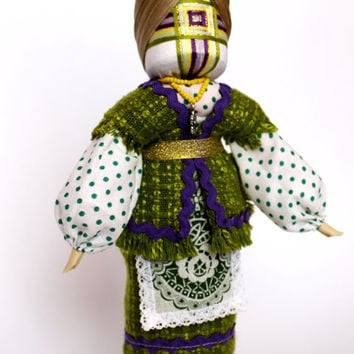Family Amulet Doll - Motanka Doll from Ukraine, Talisman Handmade Cloth Doll, One of a Kind Dolls, Purple and Lime Clothes, Flower Wreath