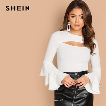 SHEIN White Cut Front Layered Sleeve Solid Tee Elegant Round Neck Party Sexy Pullover Autumn Casual Women Plain Tshirt Top