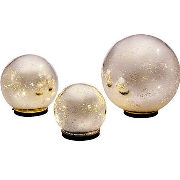 Set of 3 Lit Indoor Outdoor Mercury Glass Spheres w/Timer by Valerie - H199995 — QVC.com