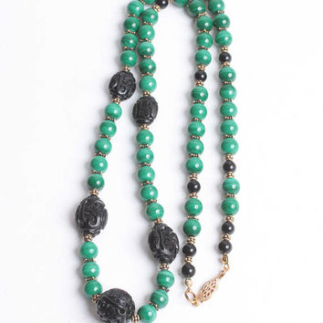 Malachite Bead Necklace  Black Faux Cinnabar Bead Gold Tone Accents Vintage