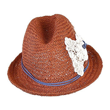 Generic Coffee Straw Roll Brim Crochet Bowknot Hollow Floppy Women Beach Sun Hats