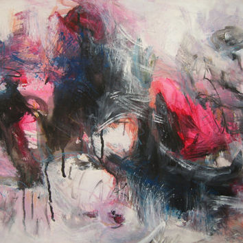 pinkblack Abstract Painting Red pink Blue Black Painting landscape modern contemporary acrylic ink art red blue abstract blooming art  sjkim