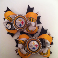 Pittsburgh Steelers NFL Bottle cap hair bow pig tail set