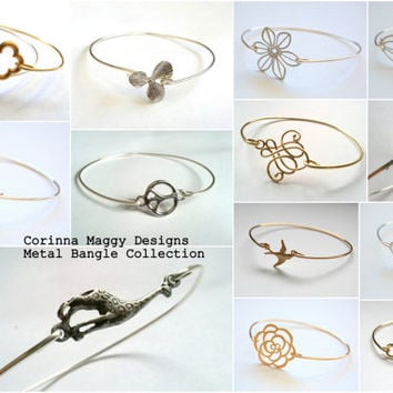 Metal Bangle Collection, Silver or Gold Bangle Bracelet,  Bridesmaid Giftt, Wedding Jewelry, Stackable, Layered