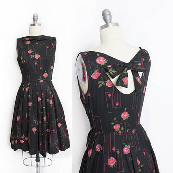 Vintage 1950s Dress - Black Cotton ROSE Print Full Skirt Gay Gibson - XS Extra Small