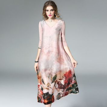 New v-neck sleeve printed classical style loose silk dress