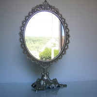 Vintage old great mirror beauty woman french silvery gray metal // Beauty Accessory // home decor//shabby chic//french country