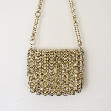 Vintage 1960s Walborg Mod / Space Age Purse / Silver and Gold Metal Chain Link Evening Bag