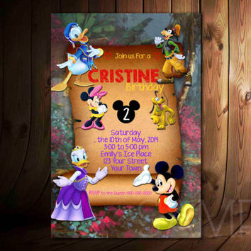 Mickey Mouse Daisy Donald Guffy Design For Birthday Invitation