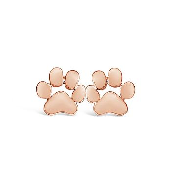 Rose Gold Dog Paw Print Stud Earrings