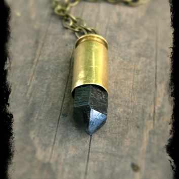 Black Crystal Necklace Long Bullet Necklace Crystal Bullet Necklace