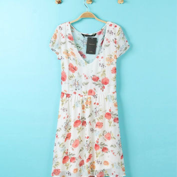 Summer Floral Chiffon Print V-neck One Piece Dress [4917859908]