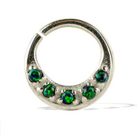 Septum Ring Nose Ring Septum Jewelry Body Green Opal Stone Piercing  Sterling Silver Indian Style 14g 16g - SE027R SS OP19