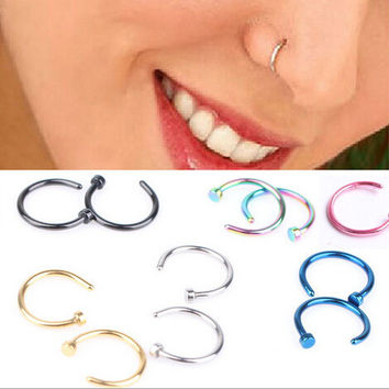2pcs Medical Titanium Gold Silver Nose Hoop Rings clip on ear lip nose ring Body Fake Piercing Jewelry For Women pircings nariz
