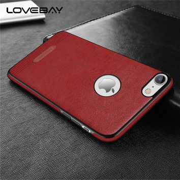 Lovebay Luxury PU Leather Stitching For Apple iPhone X 7 6s Plus 5 5s SE Capa Mobile Phone Case Soft Business For iPhone 6 Cover