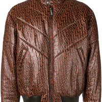 Light Chocolate Leather Logo Jacket by Missoni