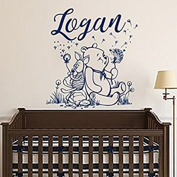 Name Wall Decals Winnie The Pooh Wall Decal Name Art Decals Vinyl Stickers Baby Nursery Room Kids Wall Decor Mural Interior Design SN128