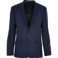 River Island MensNavy blue tech slim suit jacket