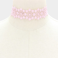 """12"""" pink flower floral lace choker collar necklace 1.25"""" wide"""