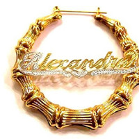 14k Gold Overlay 1 1/2 Inch Any Name Bamboo Earrings Personalized