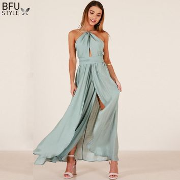 Halter Off Shoulder Split Maxi Dress Sexy Women Summer Boho Beach Party Long Dress Backless Hollow Out Lace Up Elegant Vestidos