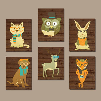 HIPSTER WOODLAND Animals Wall Art, Baby Boy Nursery Canvas or Prints, Smart Animals, Birch Wood Forest Animals, Boy Bedroom Set of 6