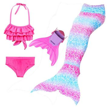 Mermaid Tails For Swimming Cosplay 3-12 Years Girls Swimmable Mermaid Tails Bikini Suit And Sharkle Swim Fin Swimsuit