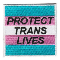 Protect Trans Lives Iron On Patch Embroidery Sewing Customise Denim Cotton LGBT Queer Trans Flag Rainbow Gay Lesbian