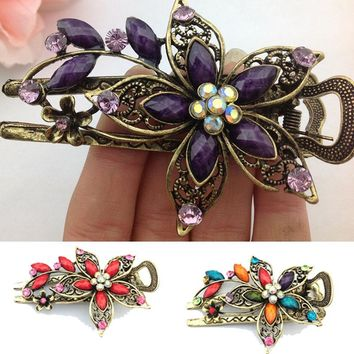 Fashion 1 Pc Lady Vintage Elegant Flower Hair Clip Crystal Hairpin Barrette Hair Jewelry Gift
