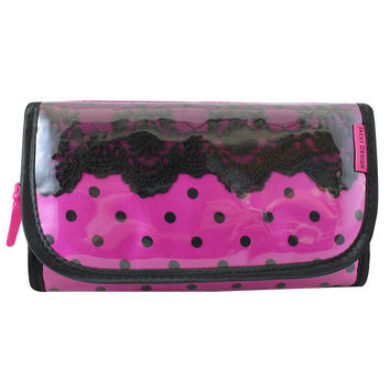 "Polka Dot Romance Foldover Hanging Cosmetic Bag 8.25""""X4.5""""X1"""" Hot Pink: Hot Pink"