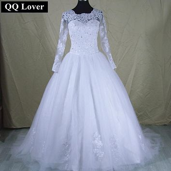 QQ Lover Vestido De Novia 2017 Long Sleeve High Neck Wedding Dress Robe De Mariage Romantic Wedding Gowns
