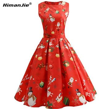 HimanJie Christmas Pattern Women Dress Casual Sleeveless O-Neck A-Line snowman print waist Dress 2017 Female Swing Vestidos