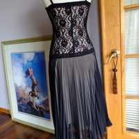 black stretch lace a pleated chiffon flapper inspired dress