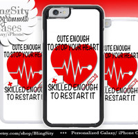 Nursing Nurse Iphone 6 Plus Case Red White Cute Skilled Heart EKG Funny Iphone 4 4s 5 5C Ipod Touch Cover LPN RN Medical