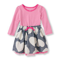 Toddler Girls Long Sleeve Stripe & Heart Dress | The Children's Place