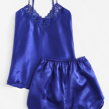 Crochet Lace Detail Satin Pajama Set