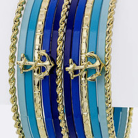 Stackable Anchor Bangle Set - Blue