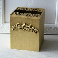 Vintage Hollywood Regency Tissue Box Holder , Ornate Gold Floral Tissue Box Cover Square , Vintage 60s Bathroom Decor , Kleenex Holder