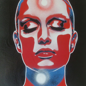 Painting of womans face, canvas,stencil art,comic,superhero,urban,pop,wallart,home,living,abstract,grafitti,red,blue,white,skin deep,vision
